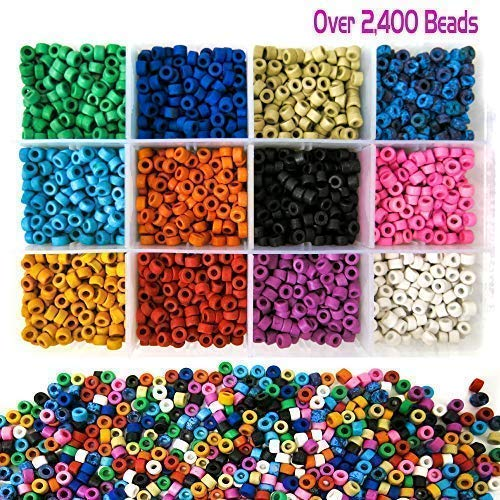 Over 2,400 Ceramic Tube Beads for Jewelry Making with Free Genuine Leather Cord Necklace - Handmade Colorful Premium Quality Craft Bead Kit - Unique Craft - Jewelry Beads Fun