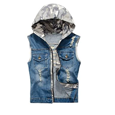 nouveau style de 2019 très loué styles de variété de 2019 NASKY Veste Gilet Jeans sans Manches Homme Veste en Jean à Capuche Biker  Déchiré