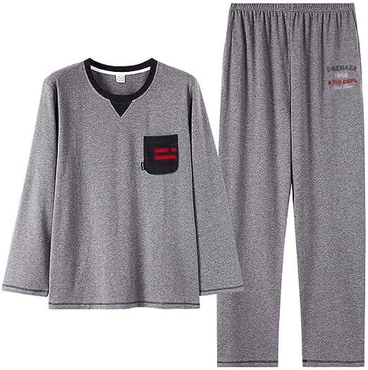 Pijama de algodón para Hombre Set Hombres con Estilo y Simple de ...