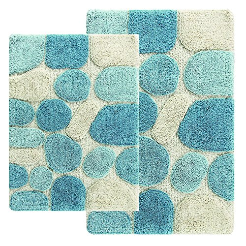 Chesapeake 2-Piece Pebbles 21-Inch by 34-Inch and 24-Inch by 40-Inch Bath Rug Set, Spa