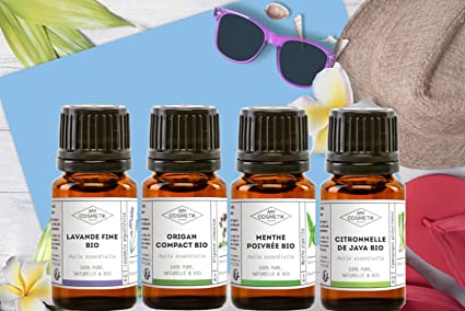 Pack 4 aceites esenciales orgánicos - Selección de verano y viaje ...
