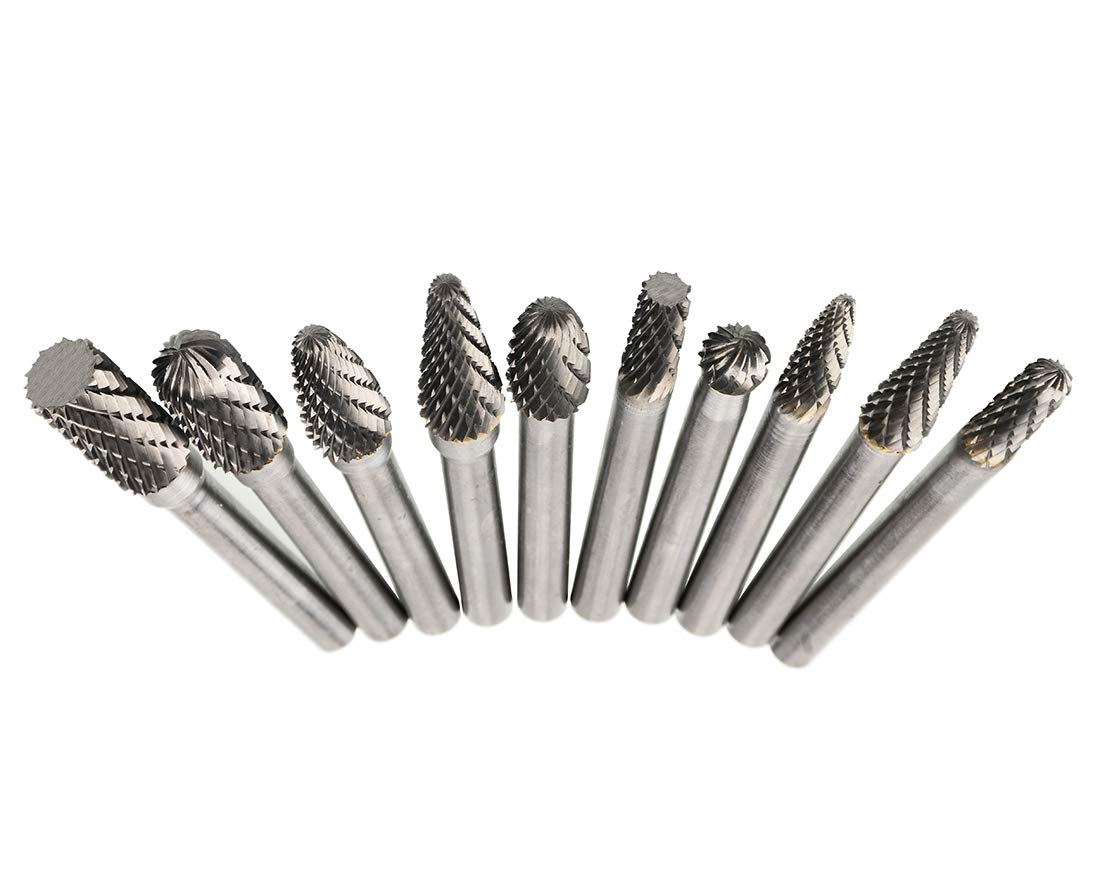 OSIDU Carbide Rotary Burr Set 1//4-Inch Shank Die Grinder Bits for Rotary Drill Die Grinder Head Carbide File Bits Metal Polishing Carving Bit Power Tools Drilling CD650 Pack of 10