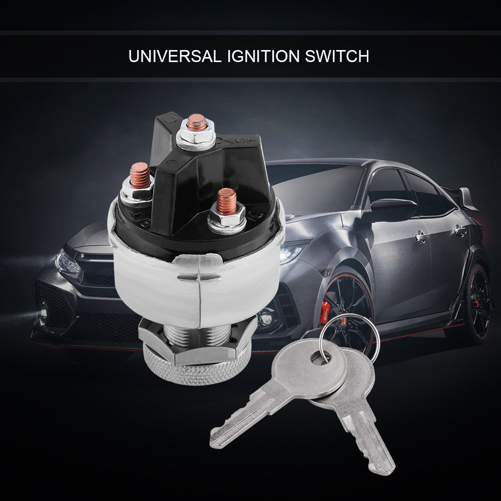 Universal Ignition Switch Lock Switch Assembly with 2 Keys for Car Truck Trailer
