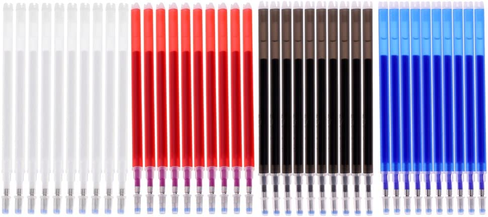40 Pieces Heat Erasable Refill Pen Heat Vanishing Fabric Markers for DIY Leather Textile