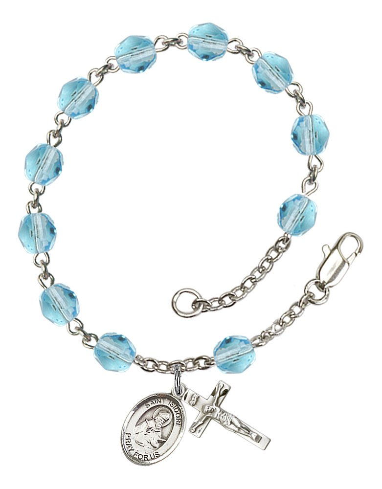 Isidore of Seville medal. Silver Plate Rosary Bracelet features 6mm Aqua Fire Polished beads The Crucifix measures 5//8 x 1//4 The charm features a St