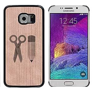 // MECELL CITY PRESENT // Cool Funda Cubierta Madera de cereza Duro PC Teléfono Estuche / Hard Case for Samsung Galaxy S6 EDGE /// Handicraft Pencil Scissors Paper ///