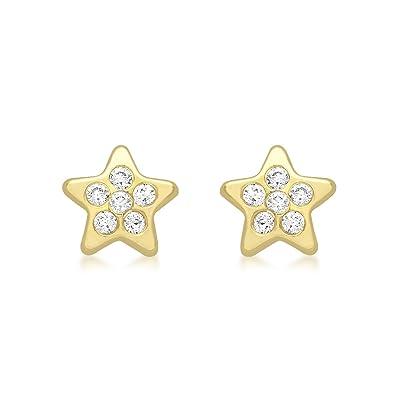 Carissima Gold 9ct Yellow Gold Cubic Zirconia Star Stud Earrings Cko2gQzq