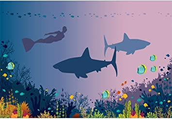 Shark 10x15 FT Photo Backdrops,Killer Sea Creature Swimming in The Ocean in Grunge Stylized Graphic Background for Baby Shower Bridal Wedding Studio Photography Pictures Black White Burnt Sienna