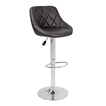 TIED RIBBONS Designer Letheratte Bar Stool Chair for caf�, Kitchen, Bar, Home, Living Room(Brown, Letheratte and Steel)