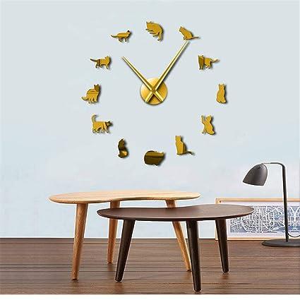 guyuell Silueta Gatos Arte De La Pared Gatitos DIY Reloj De Pared Gigante Gatos Juguetones Aguja