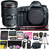 Canon EOS 5D Mark IV DSLR Full-Frame 30.4 MP Digital Camera with Built-in Wi-Fi, GPS & NFC STARTER Lens Kit with EF 16-35mm f/4L IS USM Lens & Deluxe Camera Works Accessory Bundle