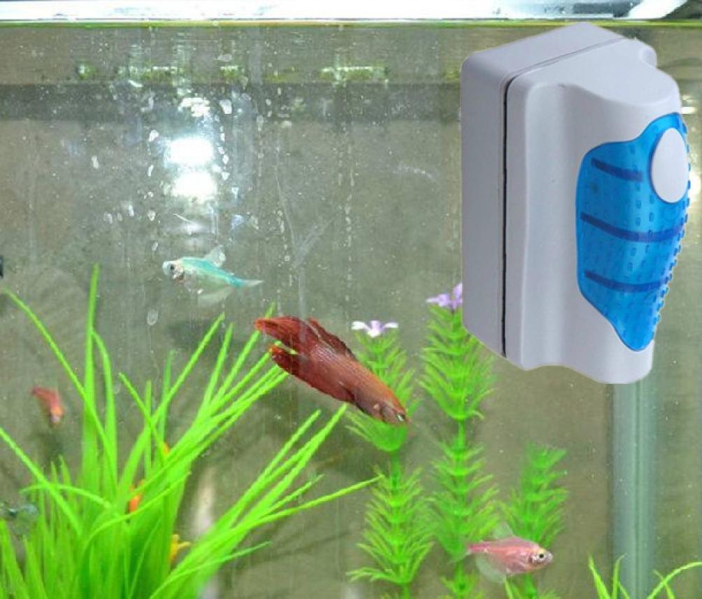 Malloom® magnética Cepillo Raspador limpiador de vidrio para Acuario Pescado tanque algas (pequeña)