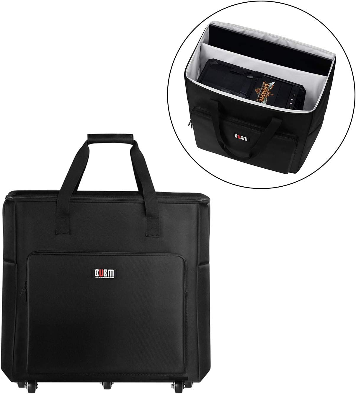 Buwico Desktop PC Computer Travel Storage Carrying Case Bag with Wheels for Computer Main Processor Case, Monitor, Keyboard and Accessories (24 Inch)