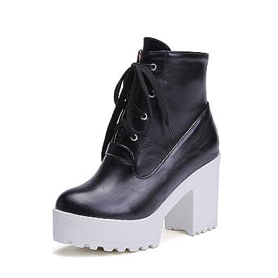 Womens Bandage Lace Platform Chunky Heels Black Imitated Leather Boots - 8 B(M) US