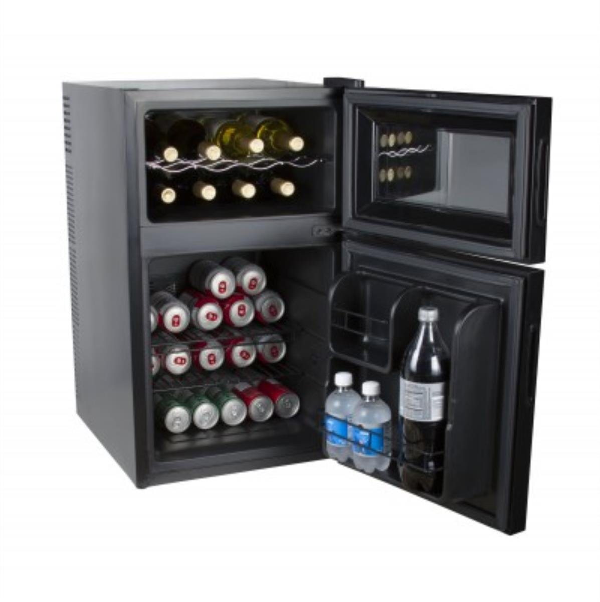 Kalorik Mini Fridge and Wine Cooler, WCL 42513 BK, 2-in-1 Beer or Soda and Wine Fridge Cooler, Black