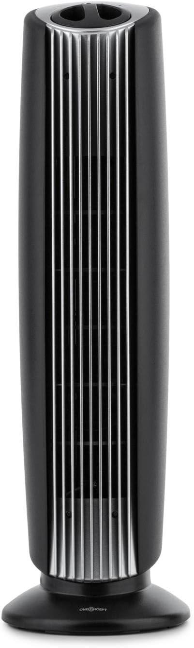-Negro//Plateado Oneconcept St Oberholz XL Purificador ionizador Ventilador de Aire ultracompacto, Poco Ruido, bajo Consumo, Elimina hasta 97,6/% de g/érmenes y bacterias