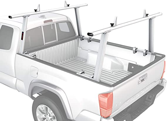 AA-Racks Model APX25 Extendable Aluminum Pick-Up Truck Ladder Rack (No Drilling Required) - Sandy White