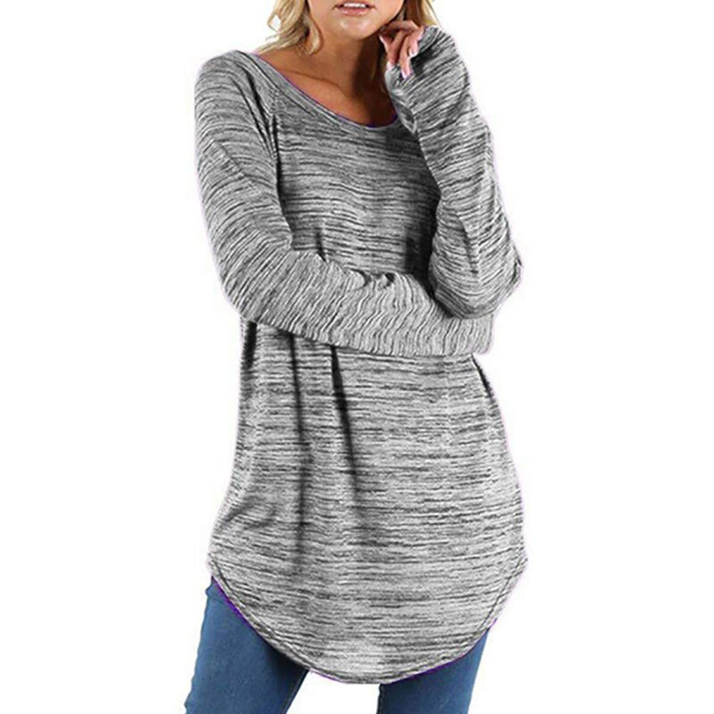 Ulanda Women Solid Round Neck Long Sleeve Blouse Pullover Tunic Tops Shirt Plus Size