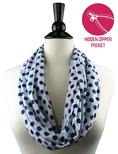 08be3af1d Pop Fashion Women Infinity Scarf Polka Dot Zipper Pocket Scarf, Infinity  Scarves (Navy): Amazon.ca: Clothing & Accessories