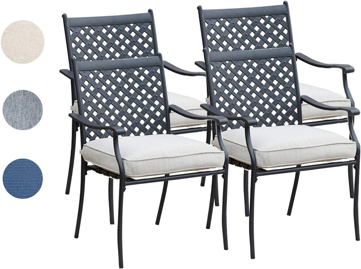 Top Space 4 Piece Metal Outdoor Wrought Iron Patio Furniture,Dinning Chairs Set with Arms and Seat Cushions (4 PC, White)