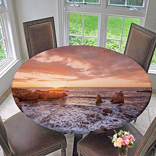 - PINAFORE HOME Round Premium Table Cloth California Coastal Sunset Perfect for Indoor, Outdoor 47.5