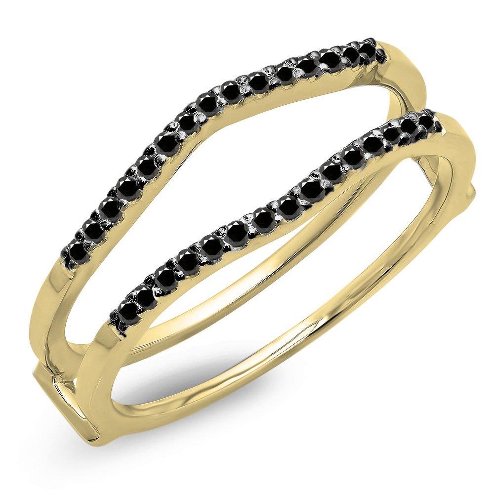 Dazzlingrock Collection 0.18 Carat (ctw) 14K Black Diamond Ladies Wedding Band Enhancer Guard Double Ring, Yellow Gold, Size 6.5