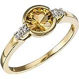 Goldmaid Damen-Ring 9 Karat 375 Gelbgold 1 Citrin 4 Diamanten 0,02 ct