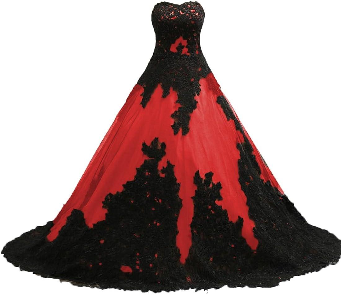 O.D.W Frauen Gotisch Brautkleider mit Spitze Lange A-Linie Schwarz Rot Vintage Hochzeitskleider