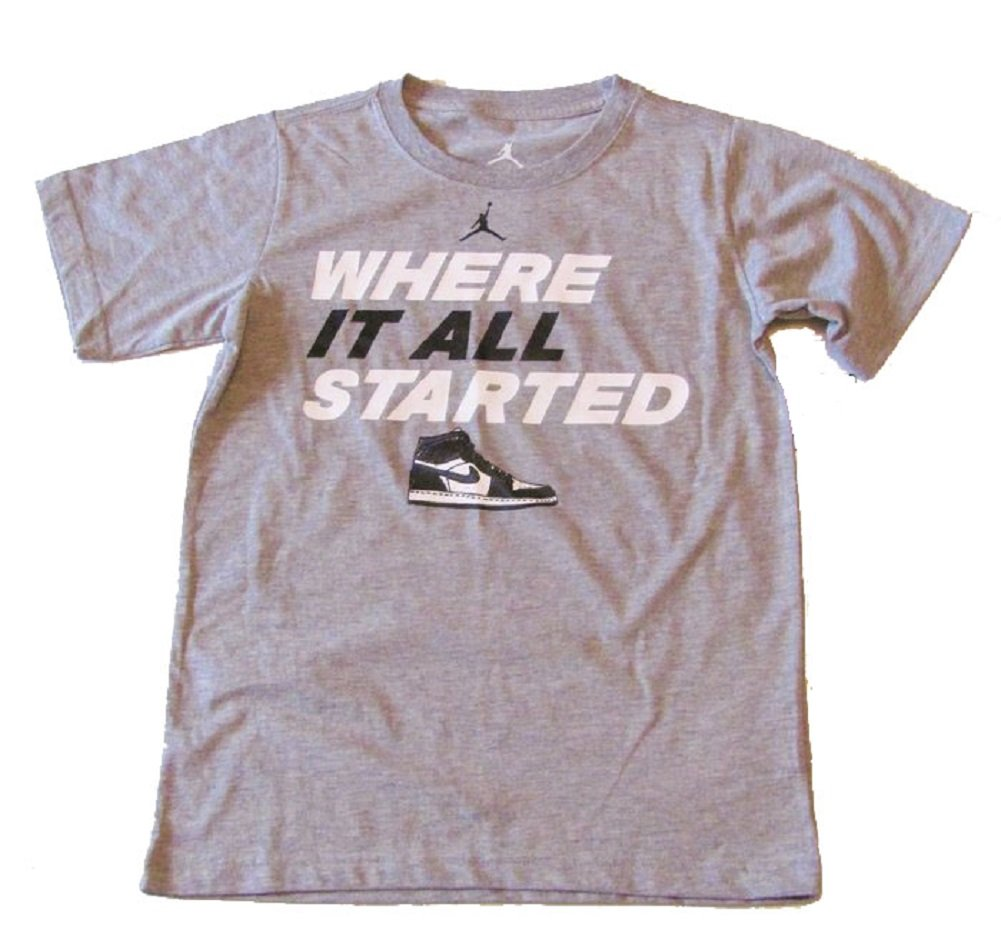 Nike Air Jordan Boys Where It All Started T-shirt (5, Dark Grey Heather)