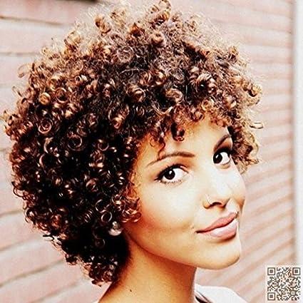winbowig marrón frontal de encaje corto rizado Cabello humano pelucas sin pegamento brasileño Virgin Remy Humano