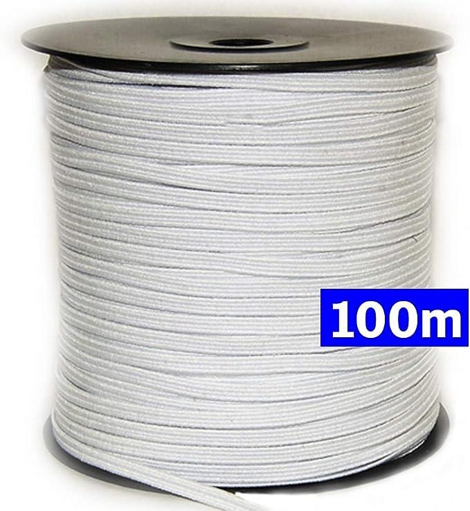 Goma elástica costura blanca 100m, 4mm. Cordón elástico para ...