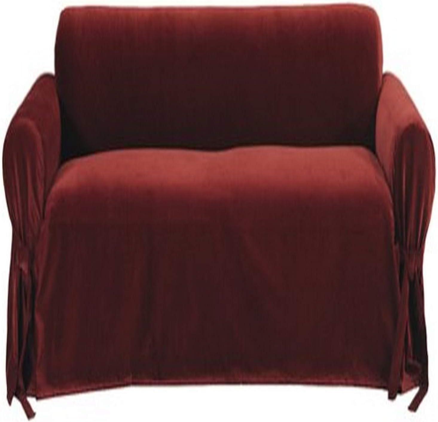 Classic Slipcovers Solid Velvet Sofa Slipcover, Burgundy