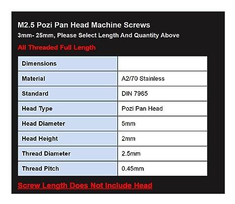 M2 X 5 Pozi Pan Machine Screws Posi Pan A2 stainless 25PK DIN 7985