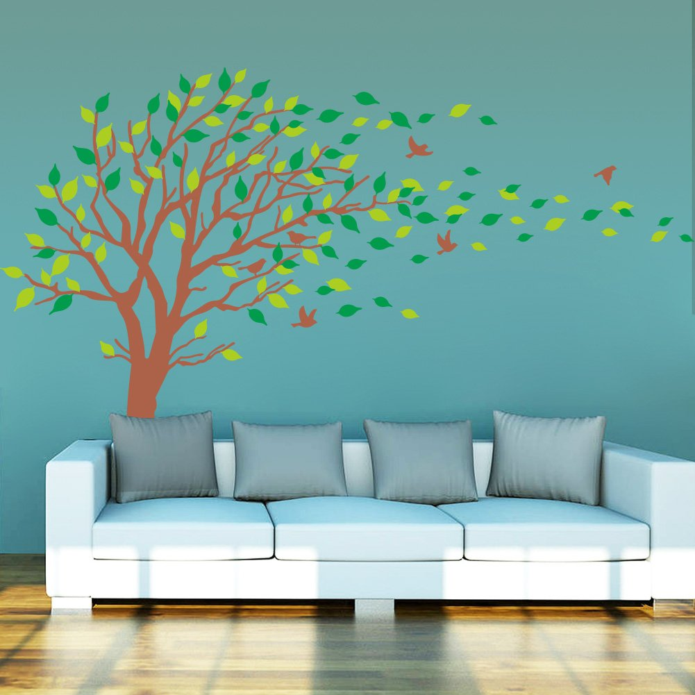 Kids room wall decor stickers - Amazon Com Large Brown And Green Tree Blowing In The Wind Tree Wall Decals Wall Sticker Vinyl Art Kids Rooms Teen Girls Boys Wallpaper Murals Sticker Wall