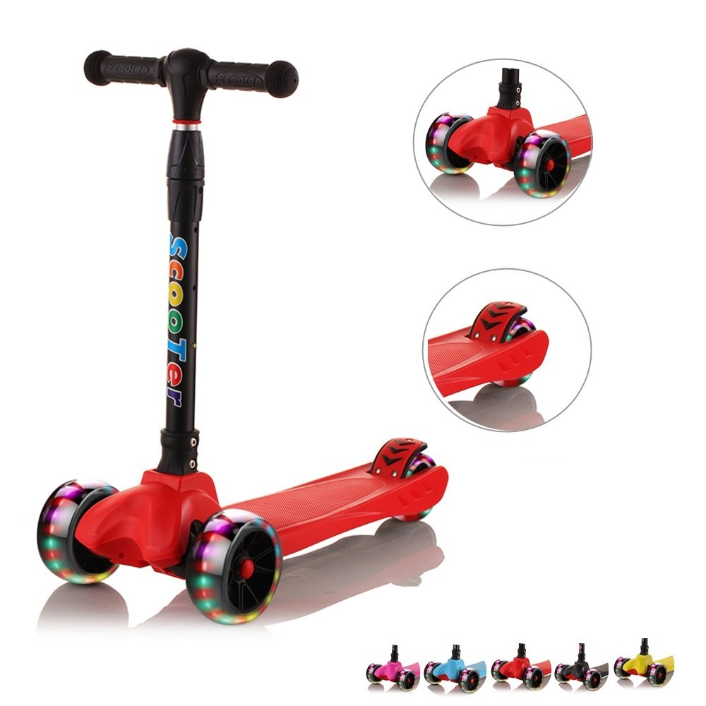 67i Scooter for Toddlers Kids Scooter 3 Wheel Adjustable Height Child Scooter 2 Years Old Boy Girl Outside Toys with PU LED Light Up Flashing Wheels for Children Age 3-12 Years Old (Red)