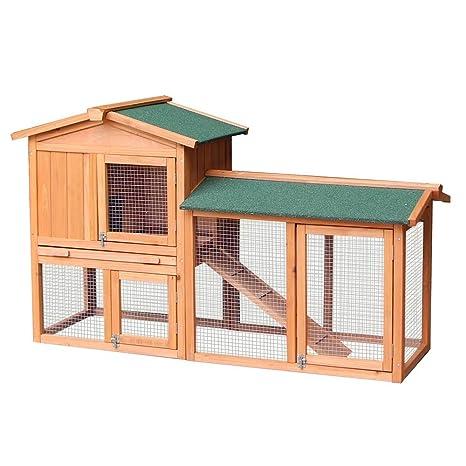 BTM Jaula de dos pisos con corral para conejos o cobayas: Amazon ...