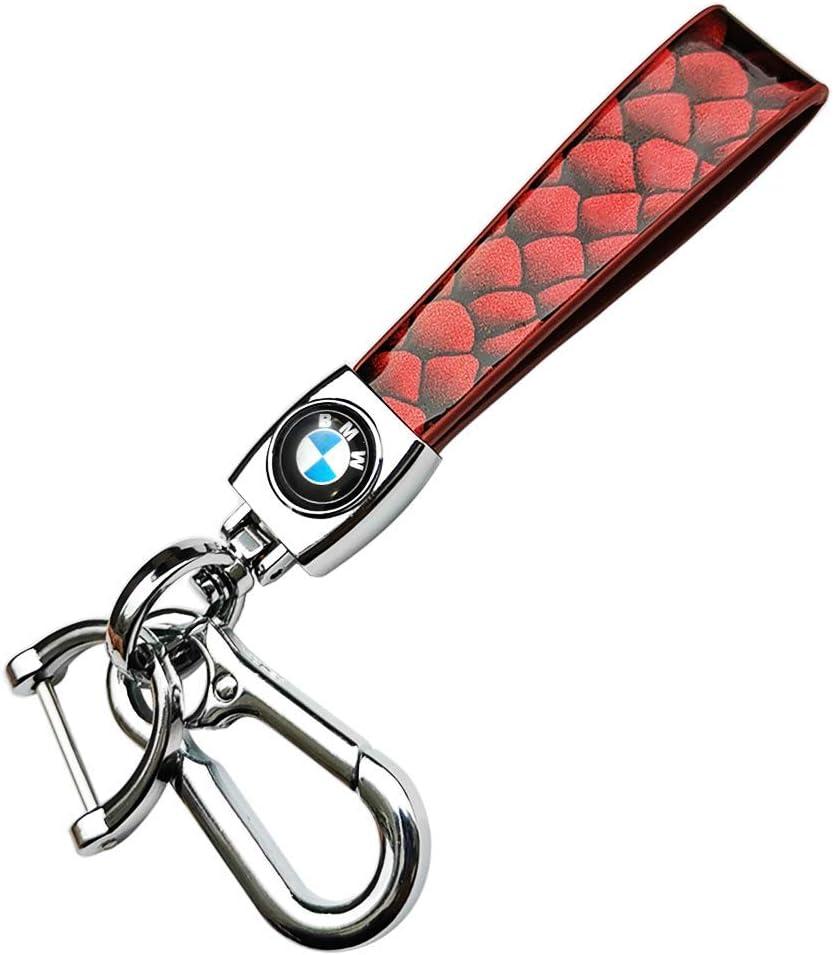 Soniubia Metal Car Key Chains Lmitation Snake PU Leather Rope Black with Logo Infiniti
