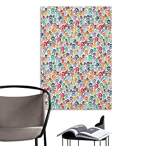 (Wall Mural Wallpaper Stickers Skull Halloween Themed Colorful Skulls and Crossbones Funny Cartoon Style Pattern Print Multicolor Art Mural Decals W32 x)