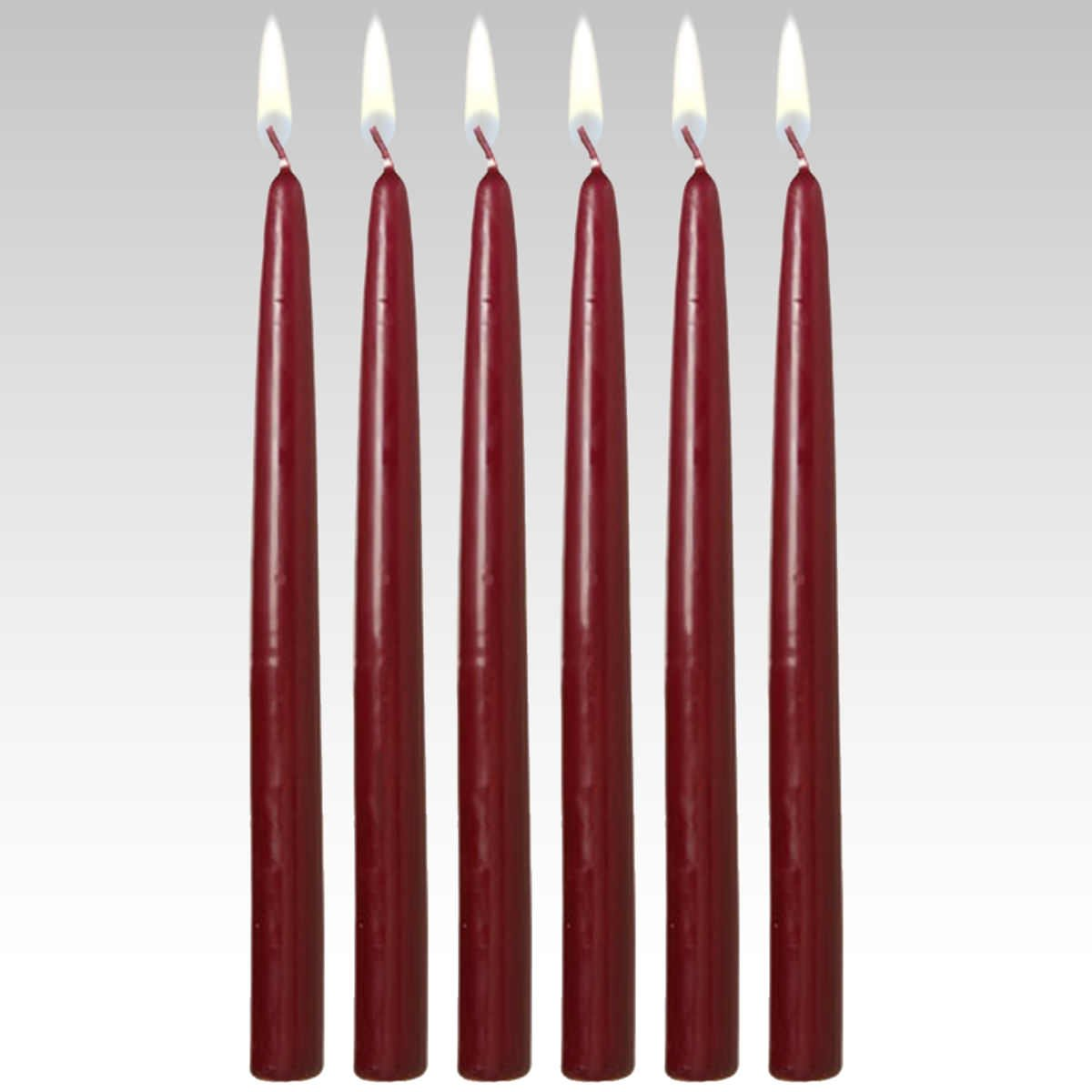 10'' Taper Candles (Set of 12) Burgundy Dripless and Smokeless Made in USA