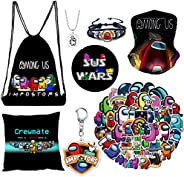 Among Drawstring Backpack, Pillow Case, Stickers, Keychain, Brooch, Bracelet, Necklace, Hair Turban, 8 Pack