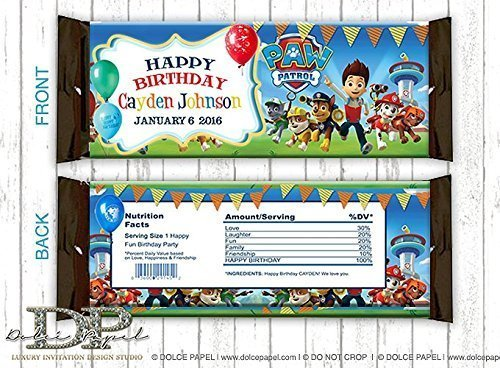 10 PAW PATROL Inspired Awesome Colorful Any Age Party Favors Large Hershey Candy Bar - Wrappers Candy Personalized Bar Hershey