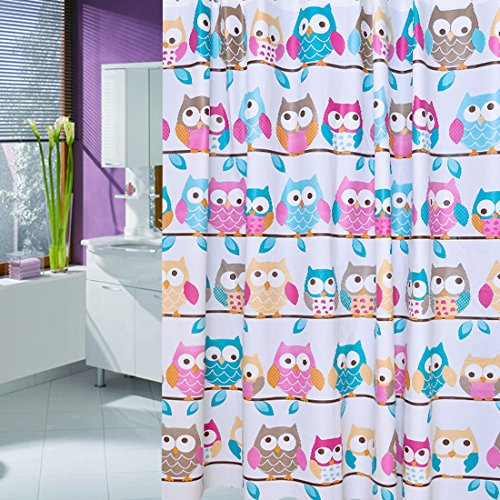 BBolive Decorative Mildew Free PEVA 5 Gauge Shower Curtain Liner Set with 12 Plastic Hooks - Waterproof 72 x 72 Inch Liner with Rust Proof Metal Grommets - Owl (Owl Bathroom Shower Curtain Sets)