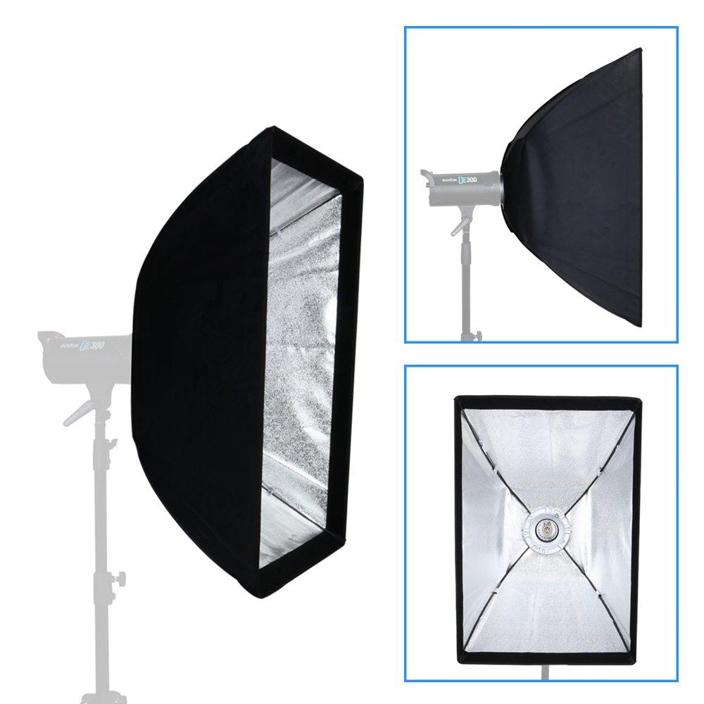 Fomito Difusor de luz con rejilla, con soporte Bowens, para estudio fotográfico, para flash Godox, Jinbei, Neewer y otras luces flash de estudio (60 x 90 ...
