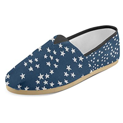 InterestPrint Women's Loafers Classic Casual Canvas Slip On Fashion Shoes Sneakers Flats Little Stars Blue