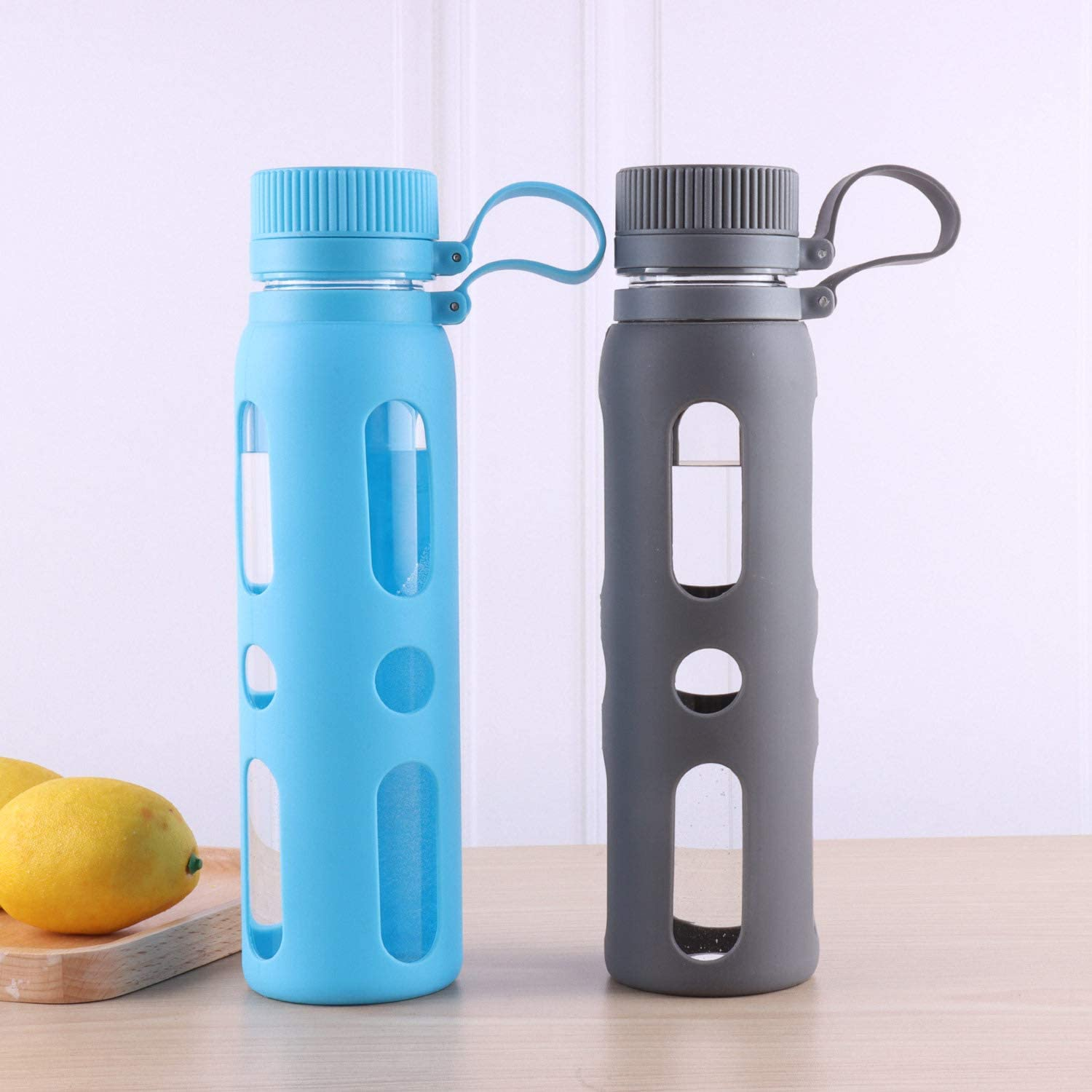 Slip Silicone Sleeve and BPA-Free Lid Sivaphe 20 oz Glass Water Bottle with Non