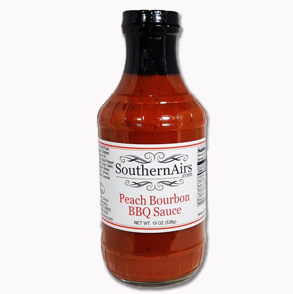 SouthernAirs Peach Bourbon Flavored/Natural Regional Flavor/Barbecue Sauce/ 19oz