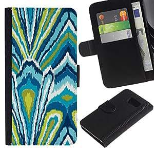Billetera de Cuero Caso Titular de la tarjeta Carcasa Funda para Samsung Galaxy S6 SM-G920 / Pattern Green Abstract Floral Pattern / STRONG