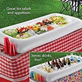 EVINIS Infltable Buffet Serving & Salad Bar Ice Buckets Food Cooler Inflatable Beer Drink Tray,Food Drink Holder BBQ Picnic Pool,with Drain Plug (2 Pcs)