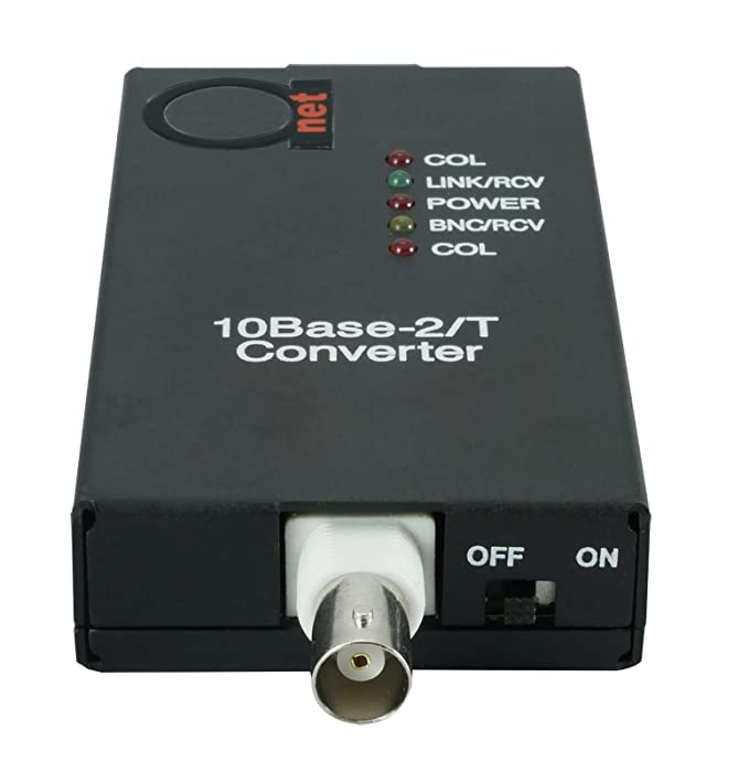 Amazon.com: 10BaseT RJ45 UTP to 10Base2 Thinnet Coax BNC Media Converter | Ethernet Adapter 10Base-T/2: Computers & Accessories