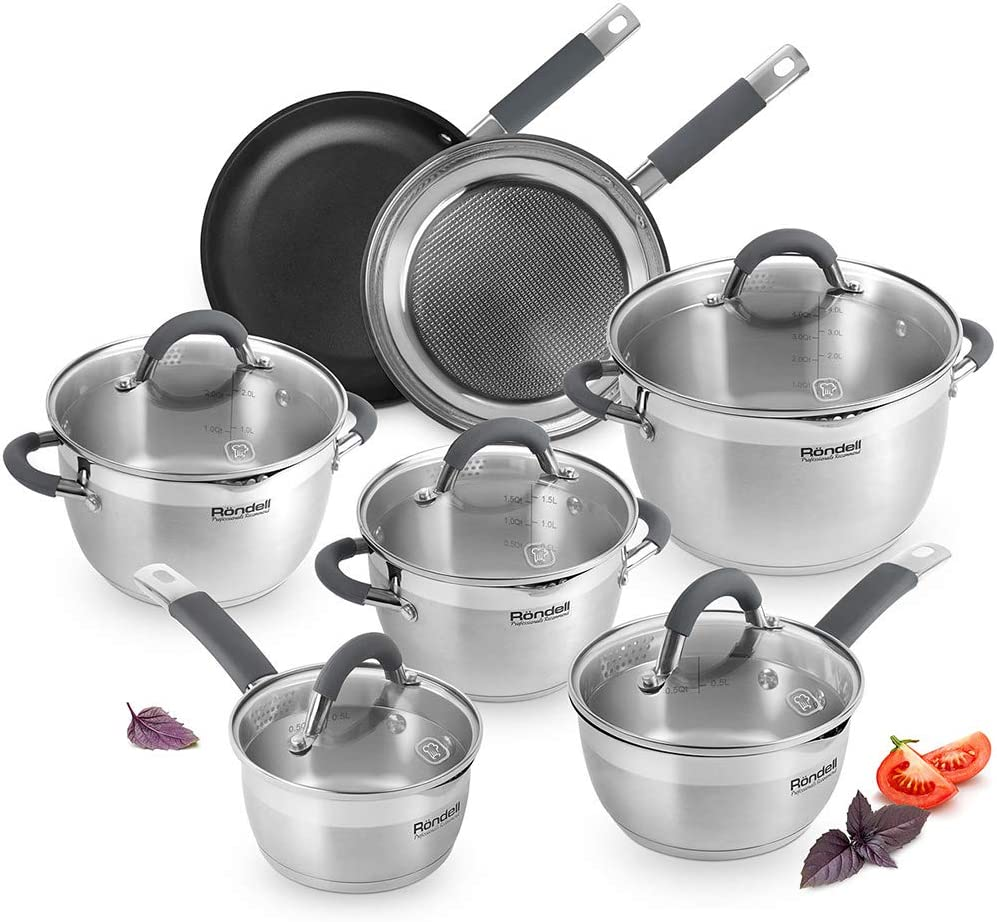 Rondell Flamme Stainless Steel Cookware Set Induction - Kitchen Nonstick Saucepans, Pots and Pans 12 pcs - Multi-Stove Top Cooking - Impact-Bonded Technology - Dishwasher safe - PFOA Free
